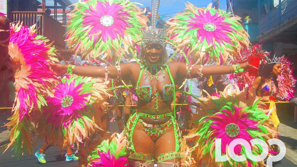A masquerader at Dominica's annual Carnival known as Mas Domnik