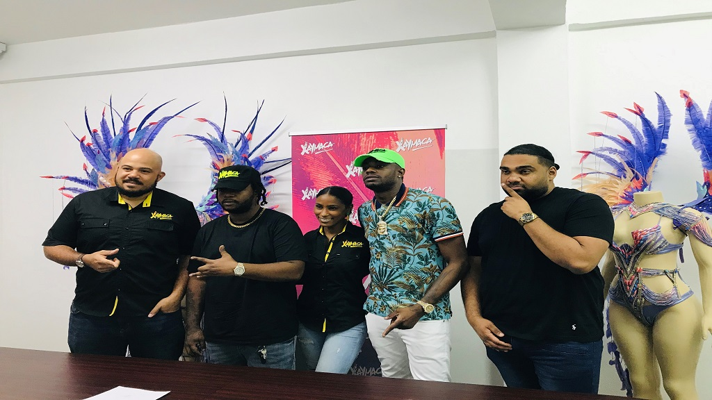 L-R: Andrew Bellamy, Xaymaca CEO; Teejay, recording artist; Kandi King, Xaymaca co-director; dancehall artist, Ding Dong; Romeich Major.