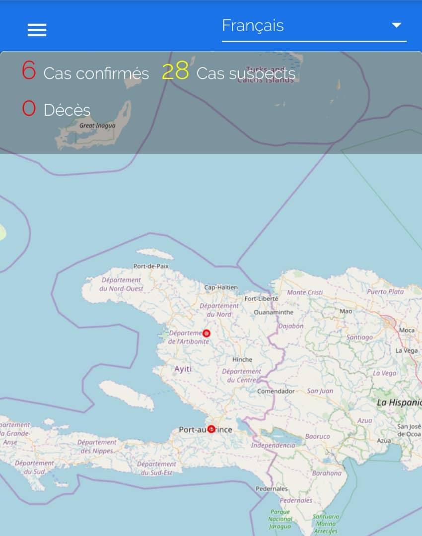 Capture d'écran de l'application web coronahaiti.org avec une carte géographique et des statistiques Crédit Photo : RBH