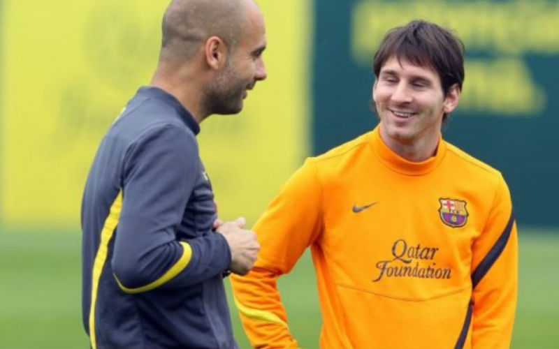 Pep Guardiola et la superstar Argentin, Lionel Messi en novembre 2012/AFP