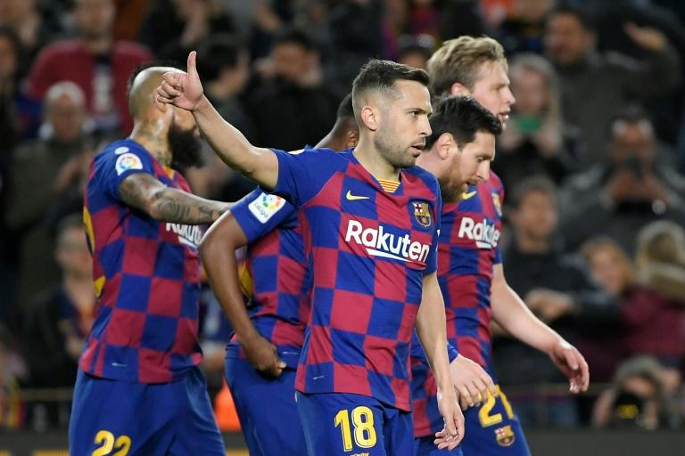 Les joueurs du FC Barcelone lors d'un match contre la Real Sociedad, le 7 mars 2020, au Camp Nou