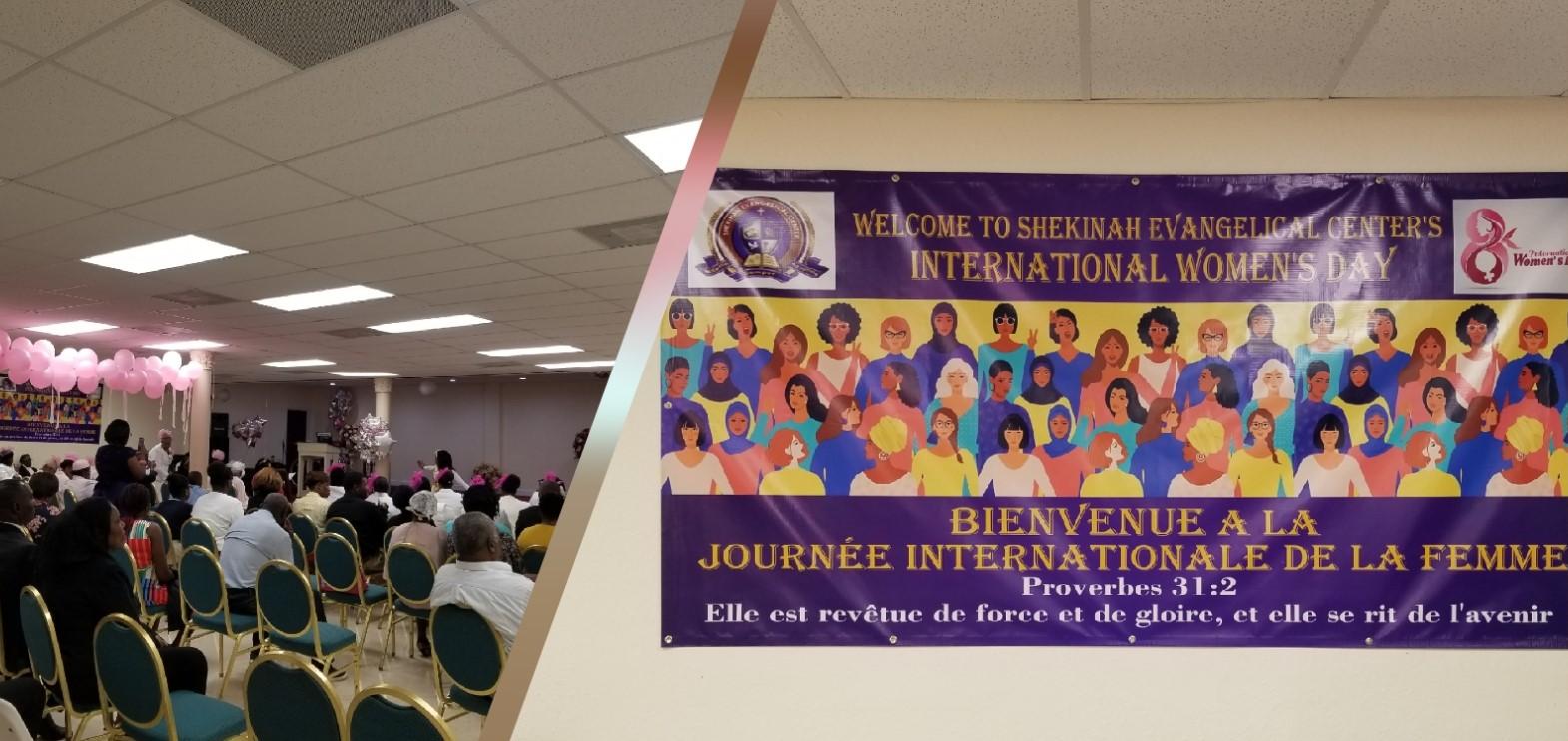 A gauche, une vue de l'assistance de l'Eglise Shekina à Miami. A droite, le banderole contenant le thème de l'activité. Collage: Loop Haïti
