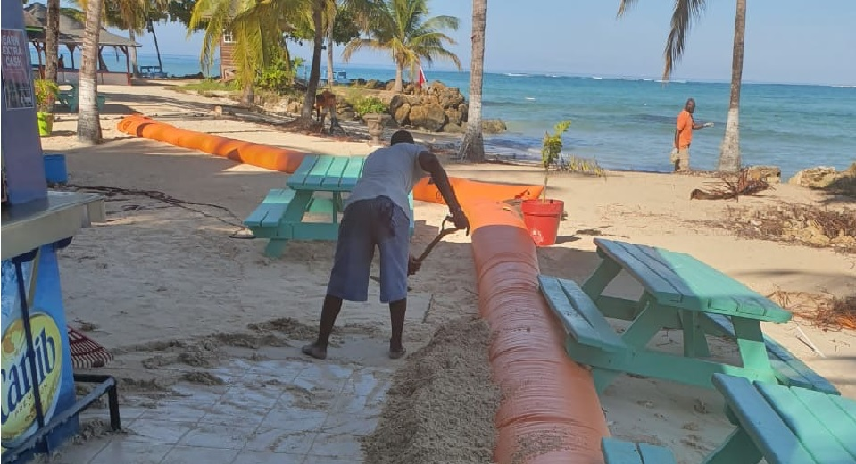 Photo: Coastal erosion at Pigeon Point Beach, Tobago. Photo courtesy the THA.