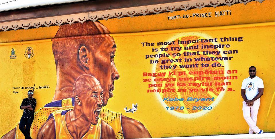 La murale de Kobe Bryant, décédé 26 janvier 2020, au quartier de Turgeau (à l'est de Port-au-prince). Crédit photo/Dave Fils-Aimé/Facebook