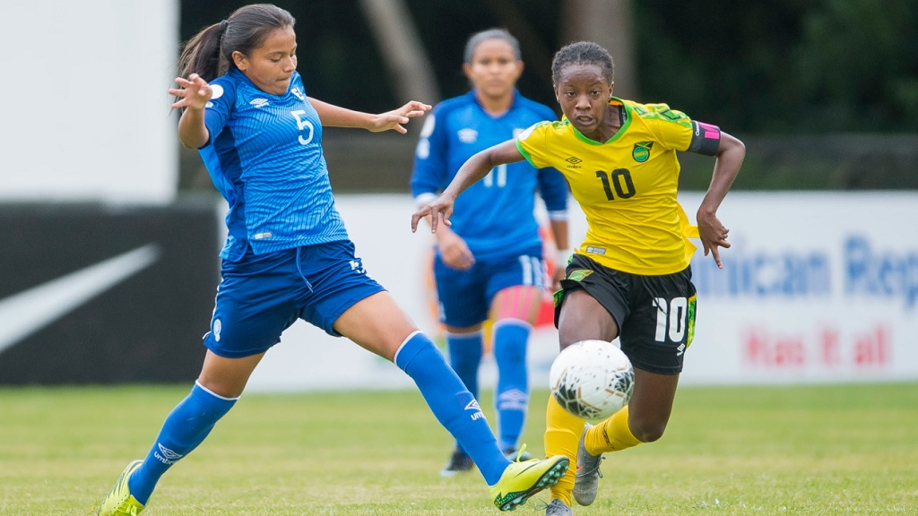 Jody Brown  (right) of Jamaica scored two goals in the win against El Salvador on Monday, February 24, 2020 in the Concacaf Women's Under 20 Championship Group at Estadio Cristobal in San Cristobal, Dominican Republic. (PHOTO: Concacaf).