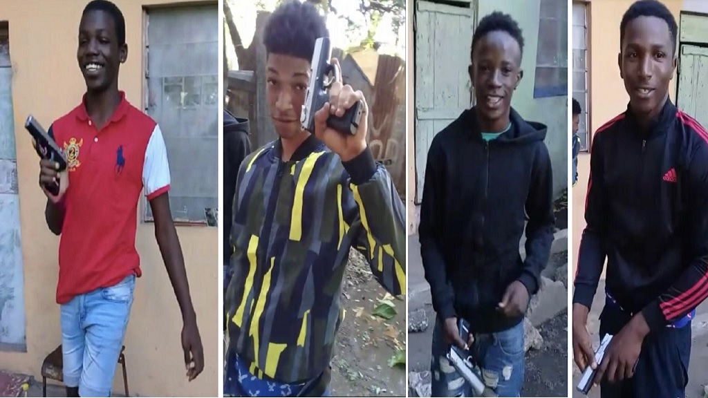 The four boys who appear brandishing a gun in a viral video. The police are appealing for help to locate the boys.