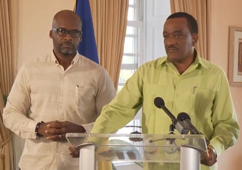 Dr Anton Best (left) and Health Minister, Jeffrey Bostic (right )