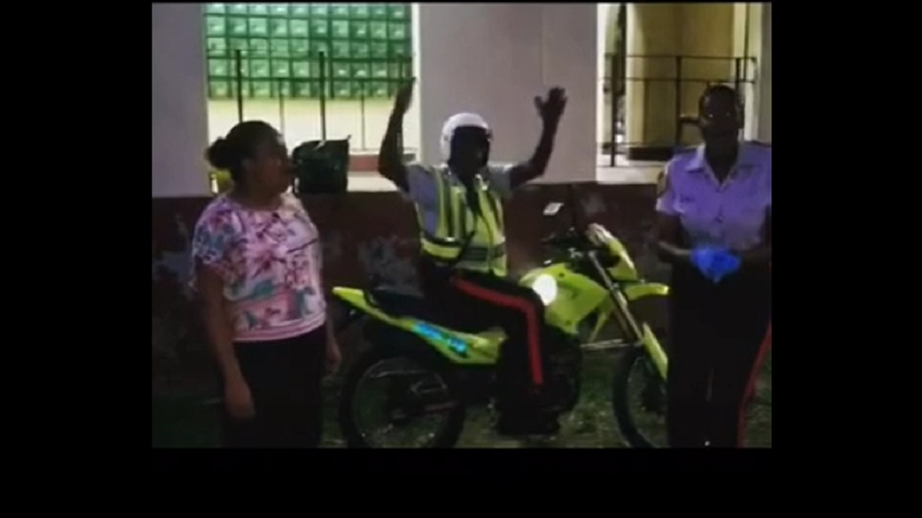 A screengrab from a recording of three Jamaican police officers in support of a global campaign around a song of hope in the face of the coronavirus pandemic.