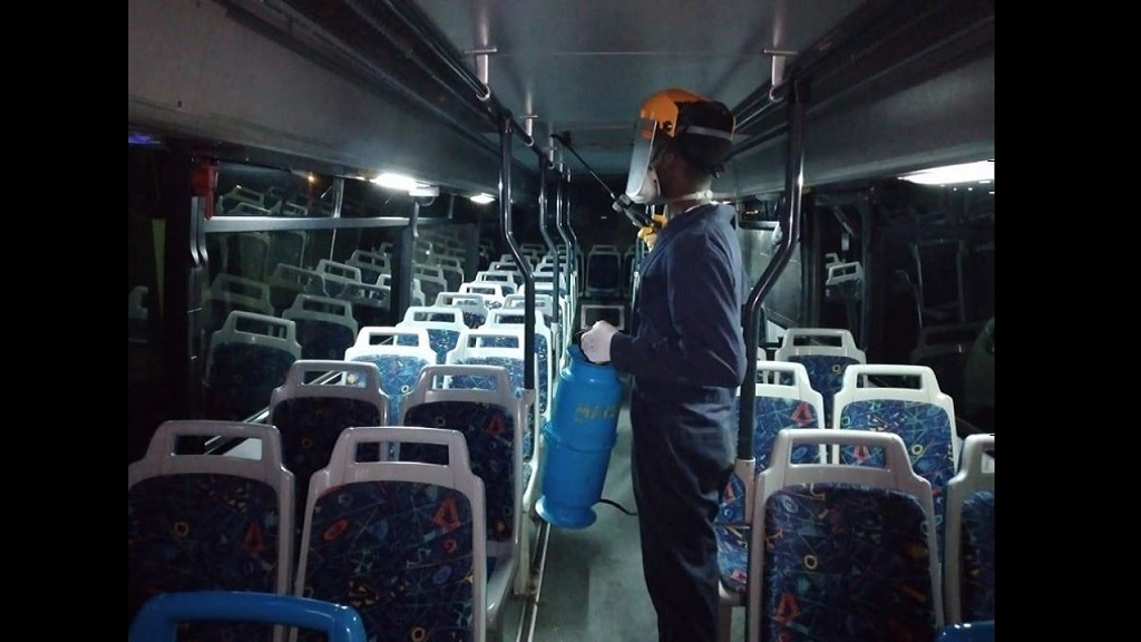 A man sanitises a JUTC bus as a precaution against the novel coronavirus.