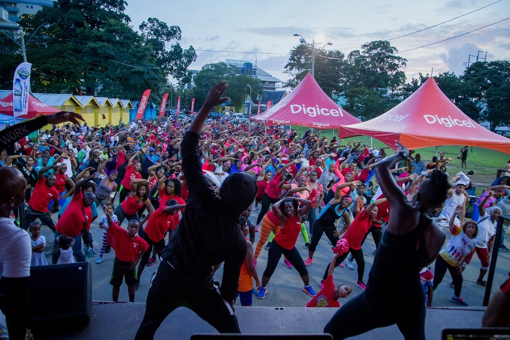 Photo: Participants at the 2018 Digicel Burn. Photo via Digicel.