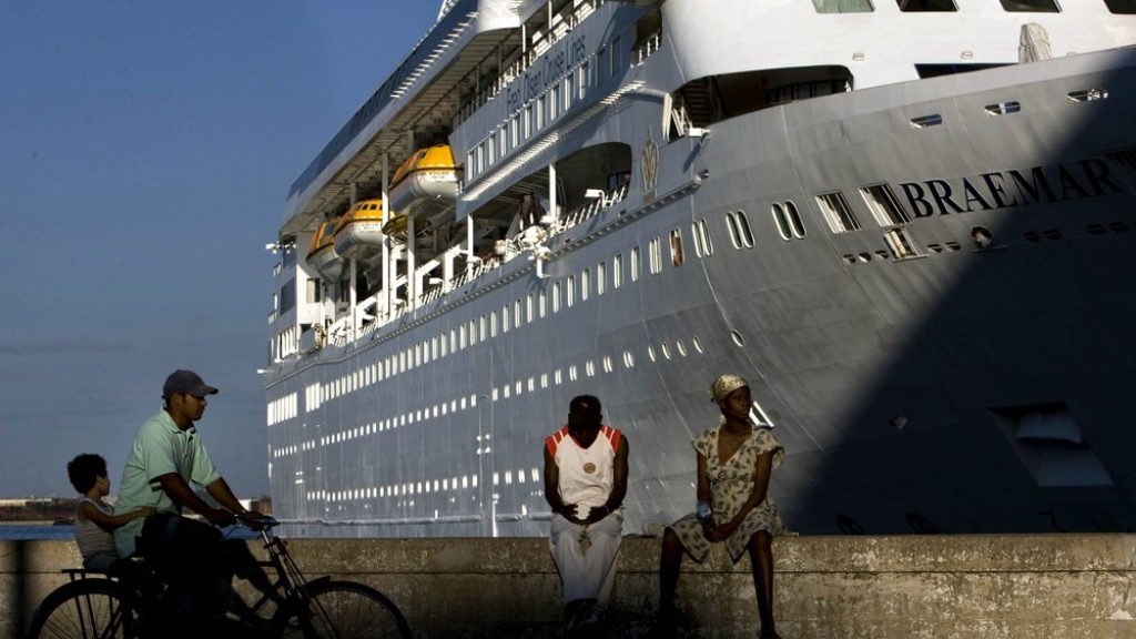 In this April 14, 2008 file photo, the Fred Olson Cruise Liner Braemar is docked at the port in Havana, Cuba. On Thursday, Feb. 27, 2020 the Dominican Republic turned back the Braemar because some on board showed potential symptoms of the new coronavirus COVID-19. (AP Photo/Ramon Espinosa, File).