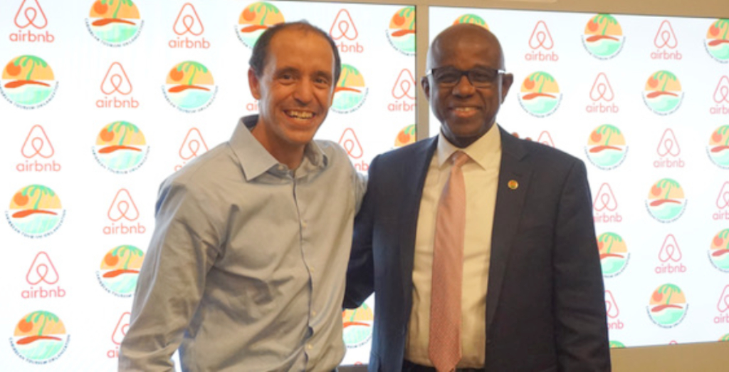 Chris Lehane, Head of Global Policy and Public Affairs for Airbnb (left) and Hugh Riley, CEO and Secretary General of the Caribbean Tourism Organization (CTO) signed a Memorandum of Understanding (MOU) on October 24, 2018 during Mr. Riley's visit to Airbnb headquarters in San Francisco.
