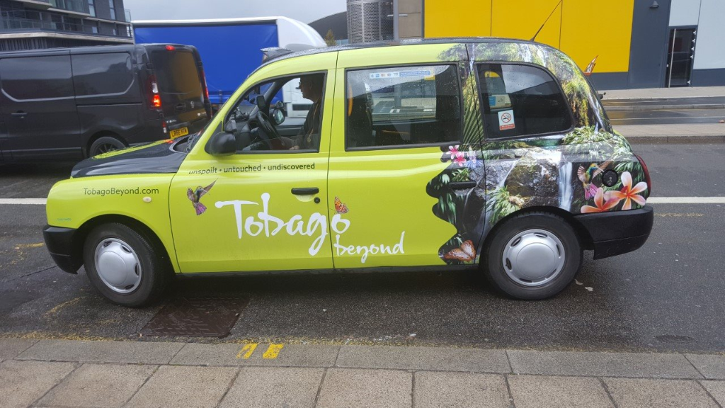 This branded cab in London was part of Tobago Tourism's Tobago Beyond campaign.