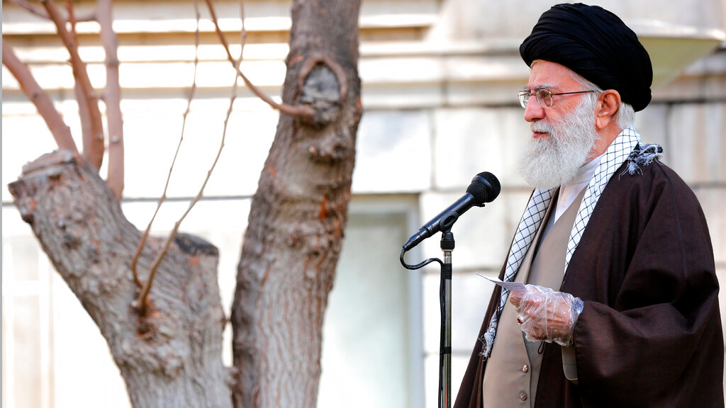 In this photo released by the office of the Iranian supreme leader, Supreme Leader Ayatollah Ali Khamenei speaks during a tree planting ceremony in Tehran, Iran, Tuesday, March 3, 2020. (Office of the Iranian Supreme Leader via AP)