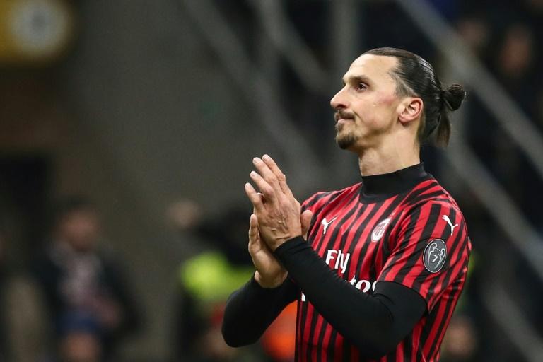 L'attaquant de l'AC Milan Zlatan Ibrahimovic lors de la demi-finale aller de Coupe d'Italie contre la Juventus Turin le 13 février 2020 à Milan