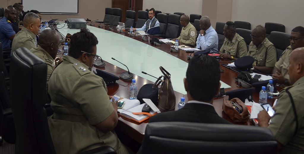 Minister of National Security Stuart Young chairs a meeting with heads of the Defence and Protective Services on Tuesday to discuss the ongoing response mechanisms to COVID-19.