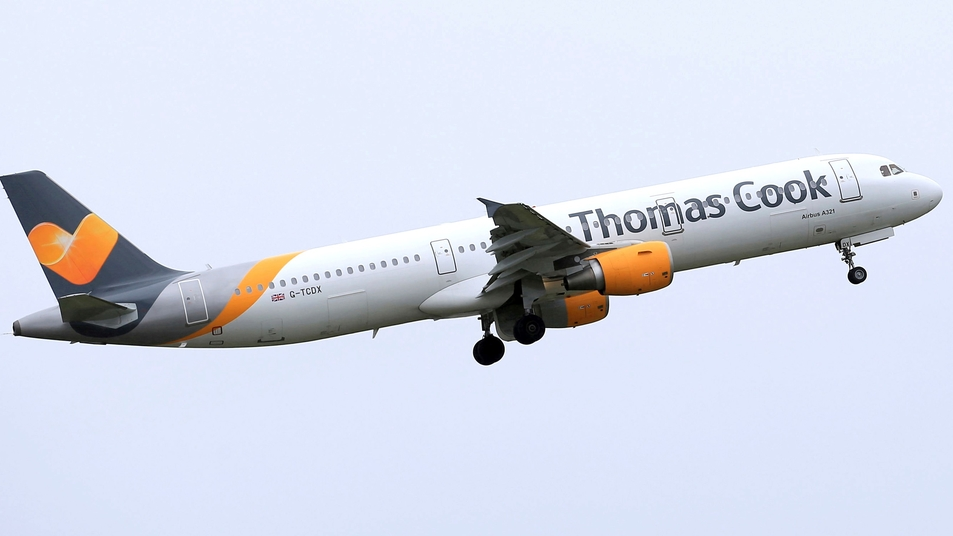 n this May 19, 2016, file photo, a Thomas Cook plane takes off from England. Veteran British tour operator Thomas Cook collapsed after failing to secure rescue funding, and travel bookings for its more than 600,000 global vacationers were canceled early Monday, Sept. 23, 2019. (Tim Goode/PA via AP, File)
