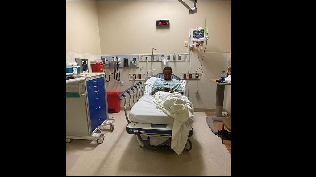 Jamaica's Kemoy Campbell resting in a USA hospital.