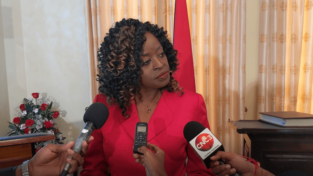 Communications Minister Donna Cox speaks with reporters after being sworn in on July 22, 2019. Photo: Darlisa Ghouralal.