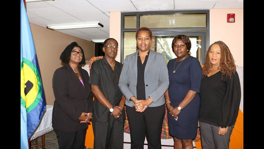 Members of the CARICOM High Level Team (from left): Angela Taylor, Chief Electoral Officer, Barbados;  Anthony Boatswain, former Finance Minister, Grenada;  Francine Baron, Chair of the Team and former Attorney General and Foreign Minister, Dominica;  Fern Narcis-Scope, Chief Elections Officer, Trinidad and Tobago; Cynthia Barrow-Giles, Senior Lecturer, Department of Government, UWI. Photo: Caricom