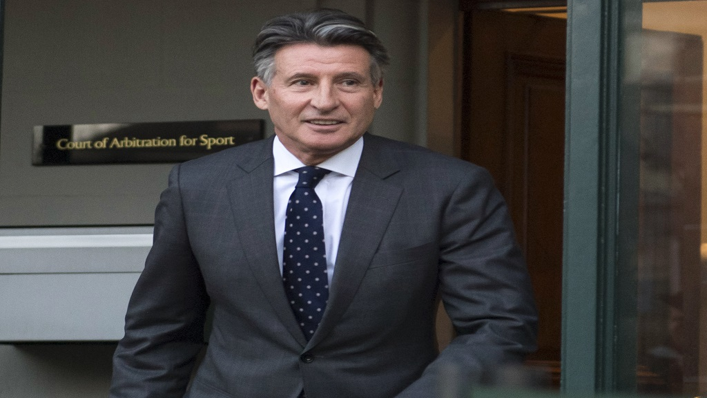 In this Monday, Feb. 18, 2019, file photo, Sebastian Coe leaves the Court of Arbitration for Sport in Lausanne, Switzerland.  (Laurent Gillieron/Keystone via AP, File).