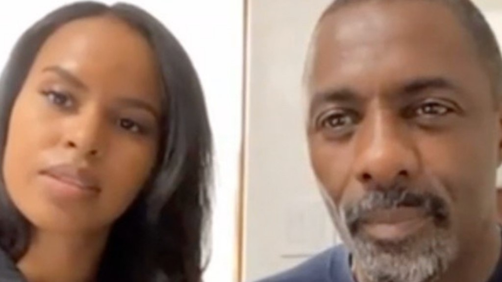 Idris Elba and his wife Sabrina during an interview with Oprah Winfrey via Face Time.