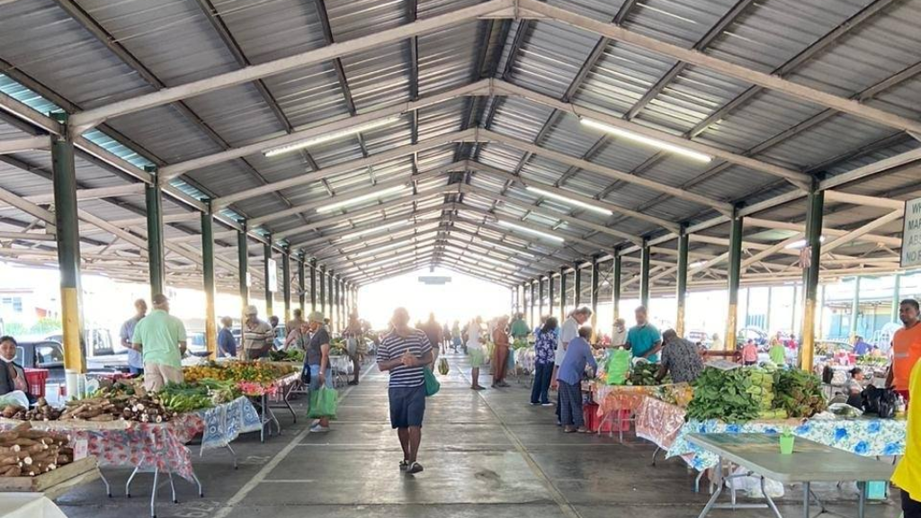 Photo: NAMDEVCO farmers' market in Couva has implemented safety measures including sanitisation, handwashing sinks and distancing of stalls. Photo courtesy NAMDEVCO/Facebook.