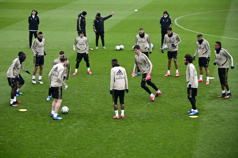 Les joueurs du Real Madrid à l'entraînement, à Valdebebas, le 29 février 2020