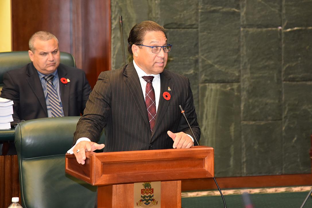 Premier, the honourable Alden McLaughlin speaking at yesterdays Legislative Assembly meeting
