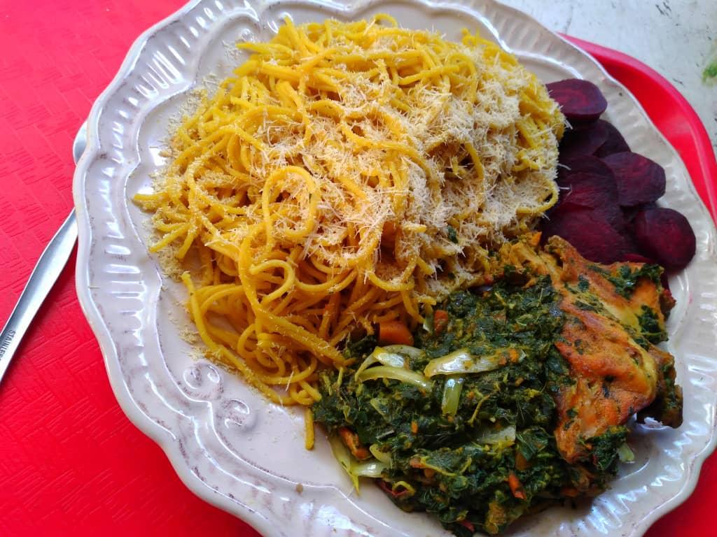 Un plat avec des légumes secs préparé par Lourdes -Millard Estimé durant le confinement. Crédit photo: Lourdes -Millard Estimé
