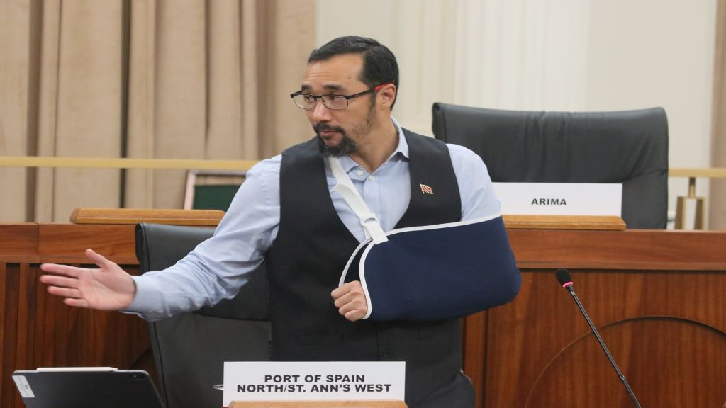 Minister of National Security  Stuart Young responds to a question posed by the Member of Parliament for Couva North, Ramona Ramdial. © 2020 Office of the Parliament.