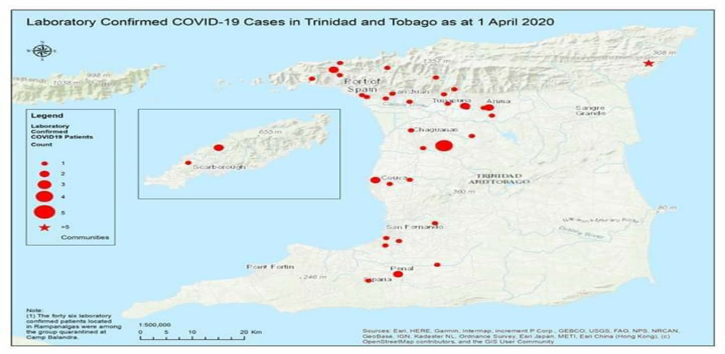 Map showing confirmed laboratory COVID-19 cases across Trinidad and Tobago, as of April 1, 2020