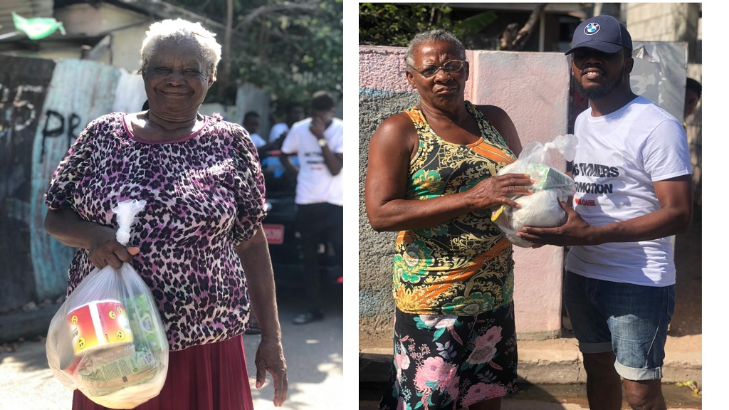 Senior citizens of Jones Town in South St Andrew in receipt of gift packages which were presented to them by a young group, 'Big Tymers Promotion',  from the community on Sunday.