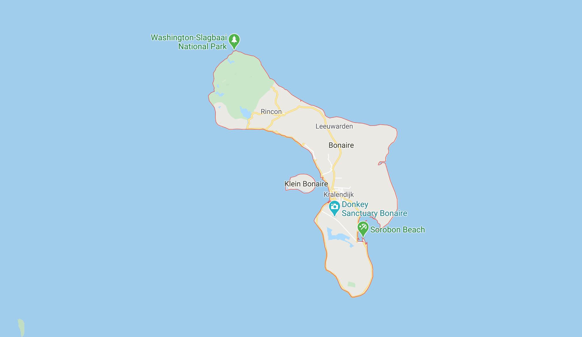 Bonaire, image cartographique/ Selon Google