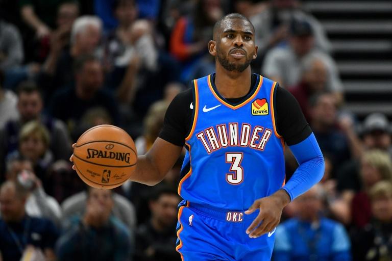 Chris Paul du Thunder d'Oklahoma City lors du match de NBA face au Jazz de l'Utah, à Salt Lake City, le 23 octobre 2019