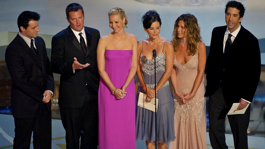 "In this Sept. 22, 2002, file photo the cast of television's ""Friends"", from left: Matt LeBlanc, Matthew Perry, Lisa Kudrow, Courteney Cox Arquette, Jennifer Aniston and David Schwimmer appear during the 54th Annual Primetime Emmy Awards at the Shrine Auditorium in Los Angeles. (AP Photo/Kevork Djansezian, File)"
