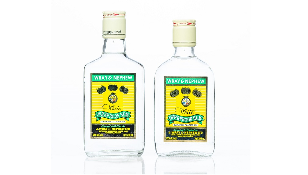 The old and new J Wray and Nephew White Overproof Rum 'flask'.