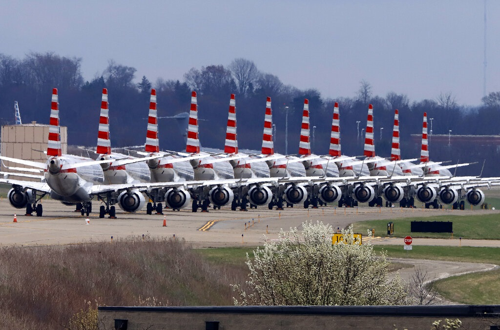 As airlines cut more service, due to the COVID-19 pandemic, Pittsburgh International Airport has closed one of its four runways to shelter in place 96 planes, mostly from American Airlines, as of Monday, March 30, 2020. The airport has the capacity to store 140 planes. (AP Photo/Gene J. Puskar)