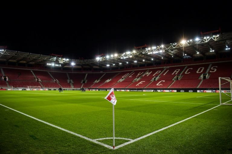 Le stade Karaiskakis vide, le 12 mars, au Pirée en Grèce, avant le match à huis clos entre l'Olympiakos et Wolverhampton en Ligue Europa