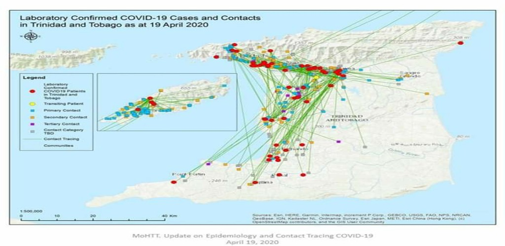 Laboratory confirmed COVID-19 cases and contacts in Trinidad and Tobago, as of April 19, 2020