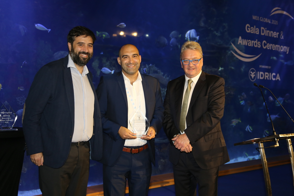 Miya Water's Chief Growth Officer, Noam Komy (centre) accepts the award. He is also joined by Gonzalo Zamacois, Head of Marketing, Miya Jamaica (left) and Mark Barker, CEO of Wex Global (right) at the WEX Global 2020 Gala Dinner and Award Ceremony held on March 3 in Spain.