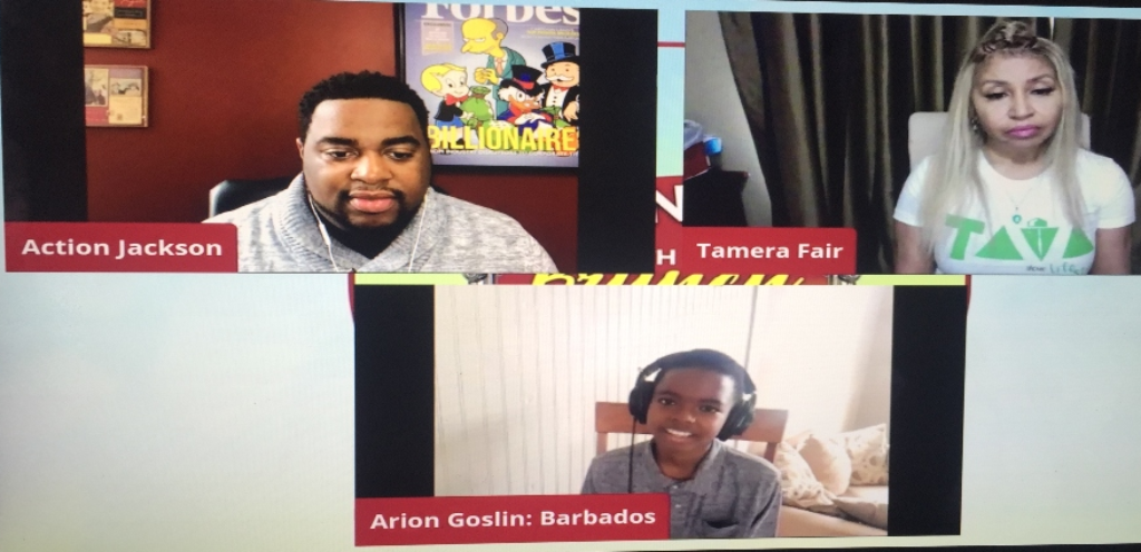 """Action Jackson, Tamera Fair and Arion Goslin during their Facebook Live show."