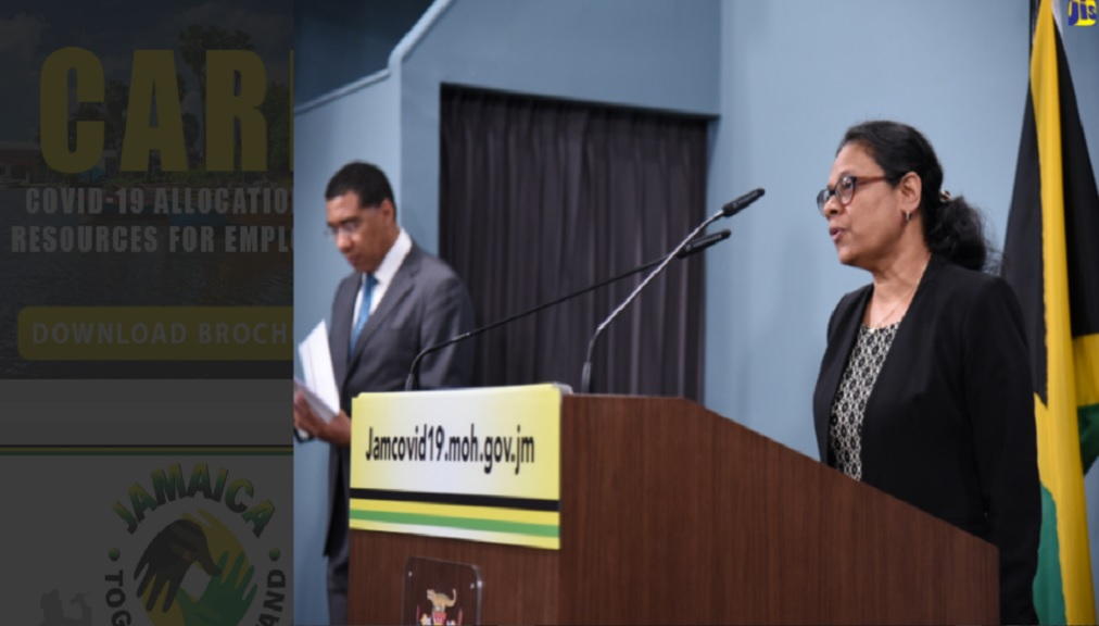 Chief Medical Officer (CMO), Ministry of Health and Wellness, Dr Jacquiline Bisasor McKenzie​ responding to questions at a digital press conference at Jamaica House.