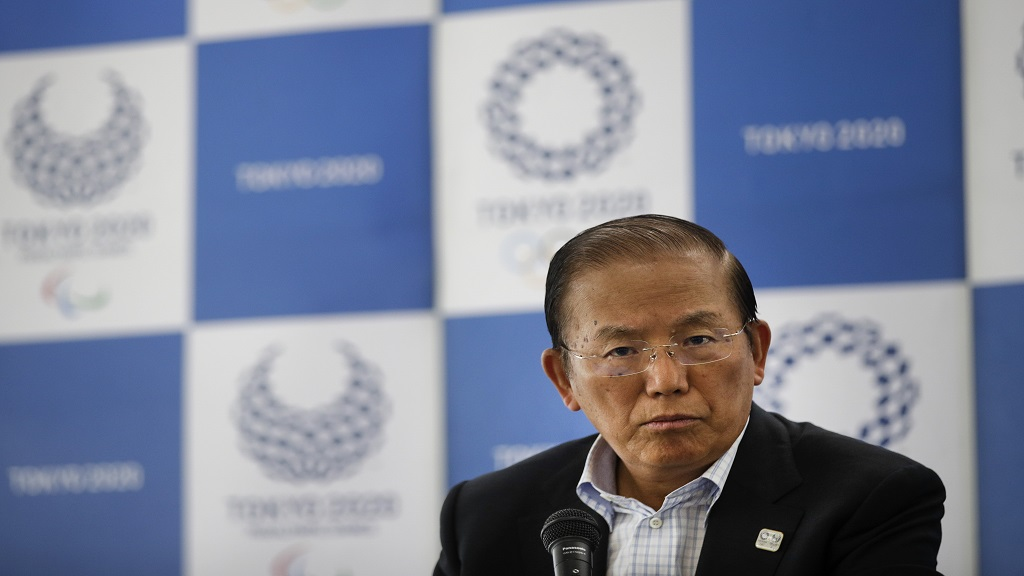 In this June 11, 2019, file photo, Toshiro Muto, CEO of the 2020 Tokyo Olympics organising committee, listens to questions from the media during a news conference in Tokyo. (AP Photo/Jae C. Hong, File).