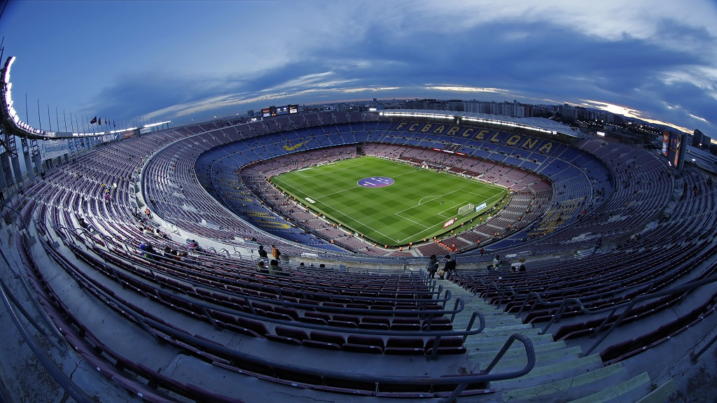 In this Thursday, Jan. 30, 2020 a general view of the Camp Nou stadium prior of a Spanish Copa del Rey football match between Barcelona and Leganes at the Camp Nou stadium in Barcelona, Spain. (AP Photo/Joan Monfort, File).
