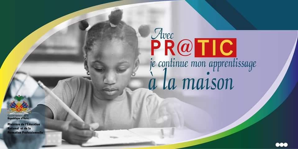 """L'un des affiches annonçant la plateforme numérique de ressources éducatives et d'apprentissage dénomméee : """"Pr@tic"""". Crédit photo: Page Facebook MENFP"""