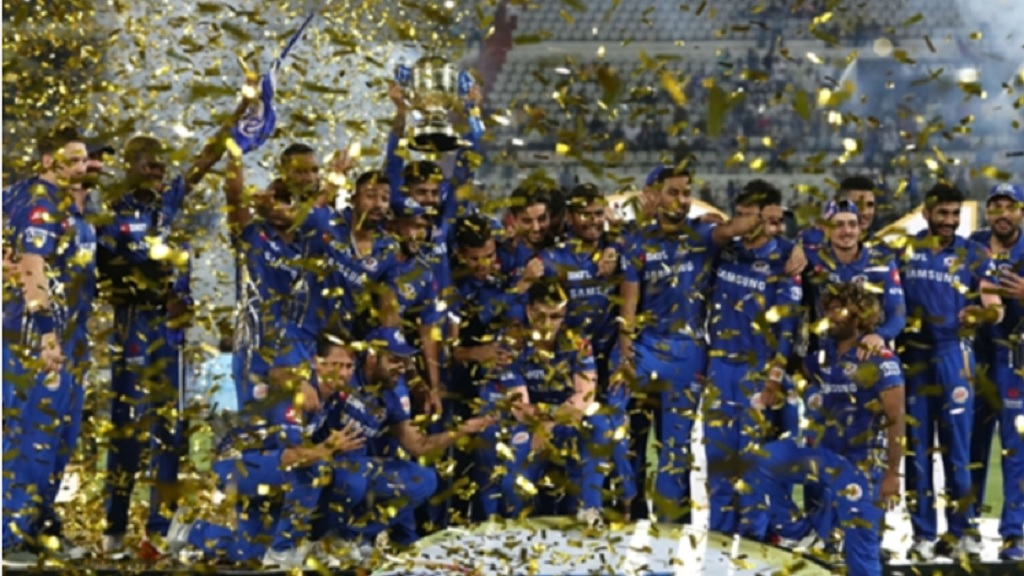 Mumbai Indians celebrate after their triumph in 2019.