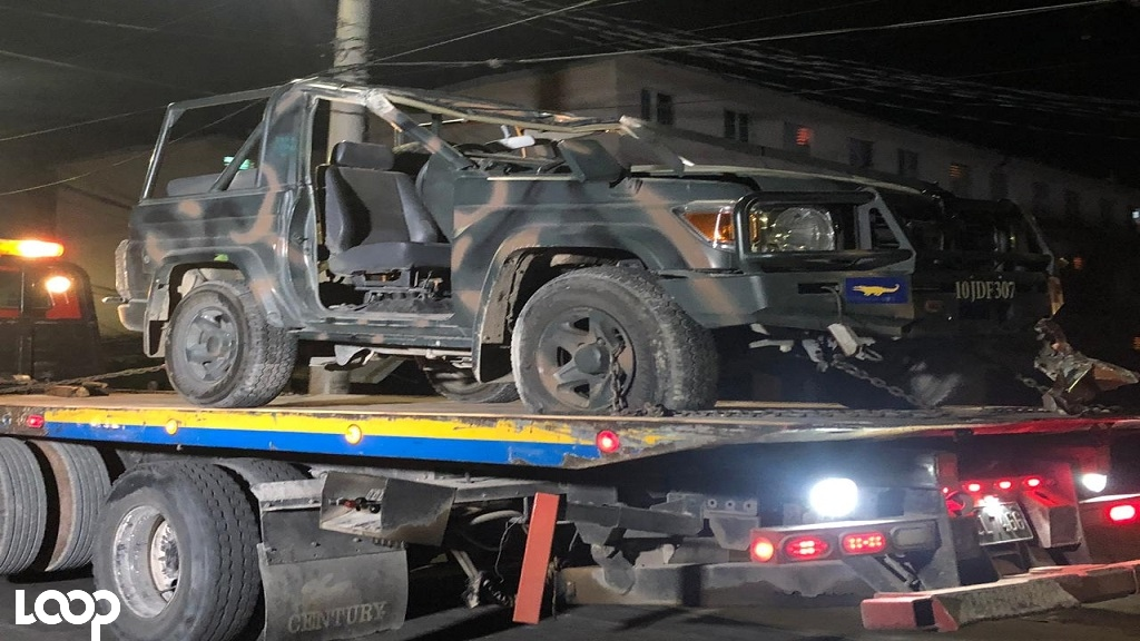 The JDF service vehicle being towed away after being damaged in the accident.