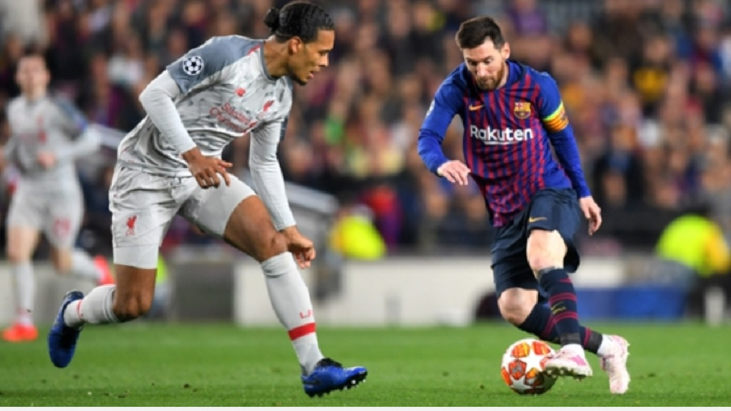Liverpool defender Virgil van Dijk and Barcelona star Lionel Messi.