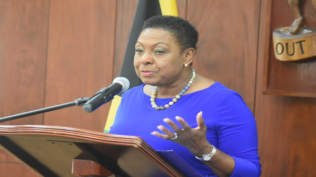 Sports Minister Olivia Grange addresses journalists at the Post Cabinet press briefing on Wednesday. (PHOTO: Marlon Reid)
